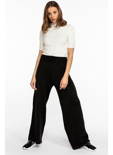 Tiffany&Tomato Triko Beli Lastikli Bol Paça Triko Pantolon-Siyah Siyah